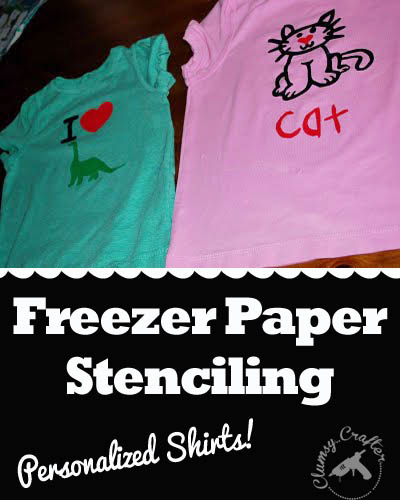 freezer Paper stenciling from Clumsy Crafter