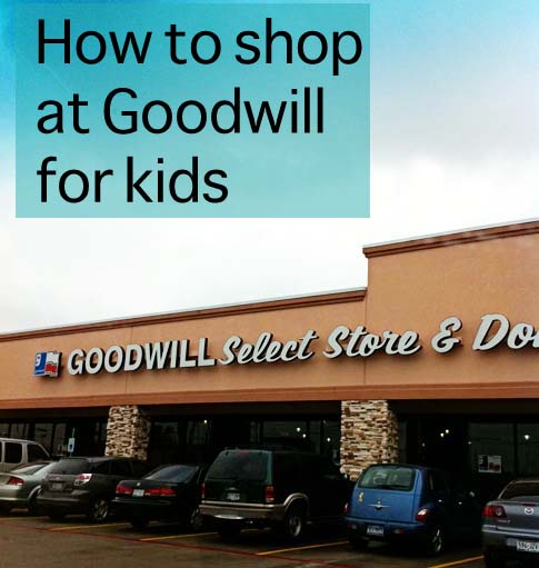 How to shop at Goodwill or other thrift stores for kids clothes from Clumsy Crafter