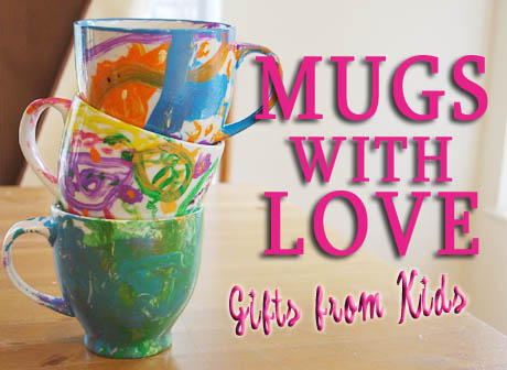 Gifts from kids handpainted mugs clumsy crafter for Coffee mug craft kit