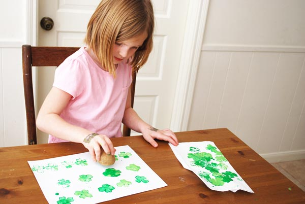 potatograce Shamrock Potato Printing