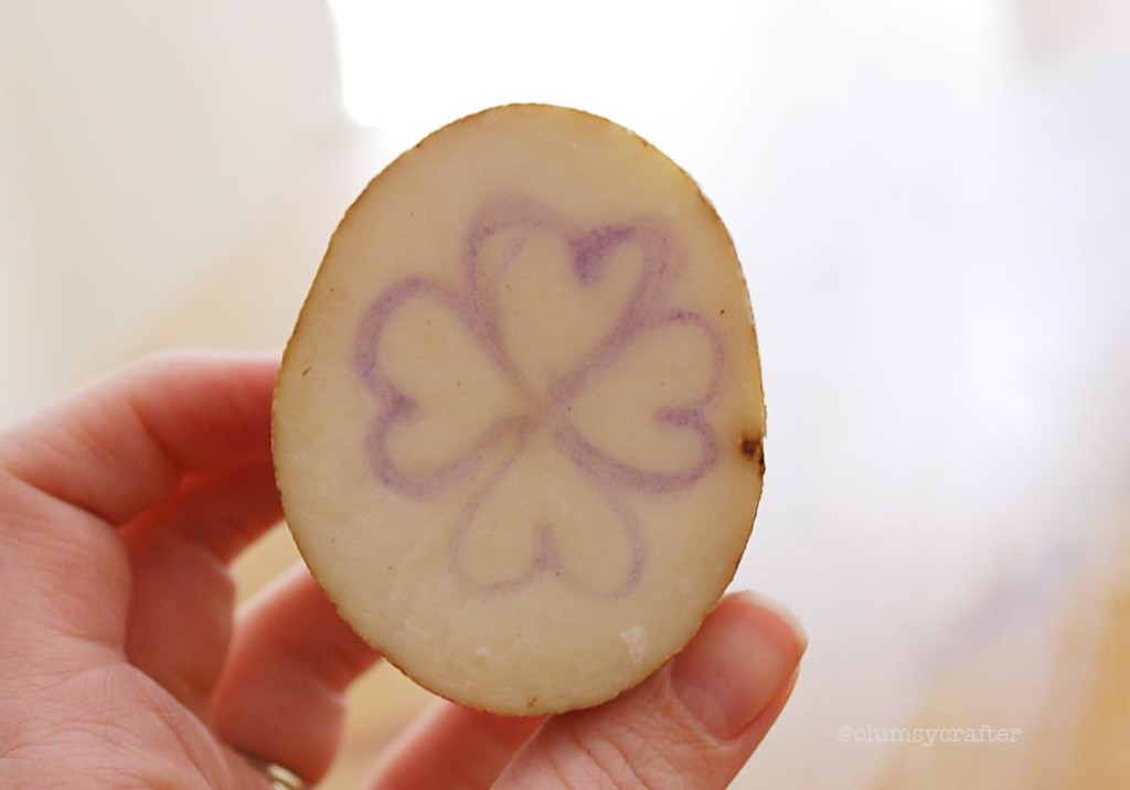 potatoprint1 1024x716 Shamrock Potato Printing