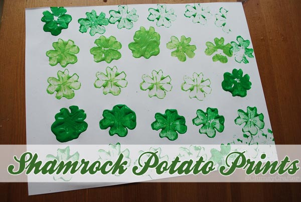 potatoprintsshamrockstpatricksday Shamrock Potato Printing
