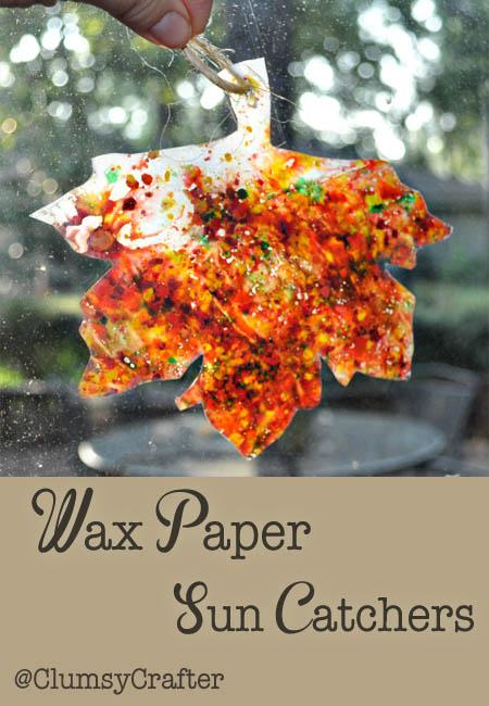 Wax Paper Sun Catchers by @ClumsyCrafter Wax Paper Sun Catchers for Kids