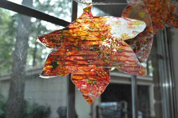 Wax Paper Sun Catchers leaf