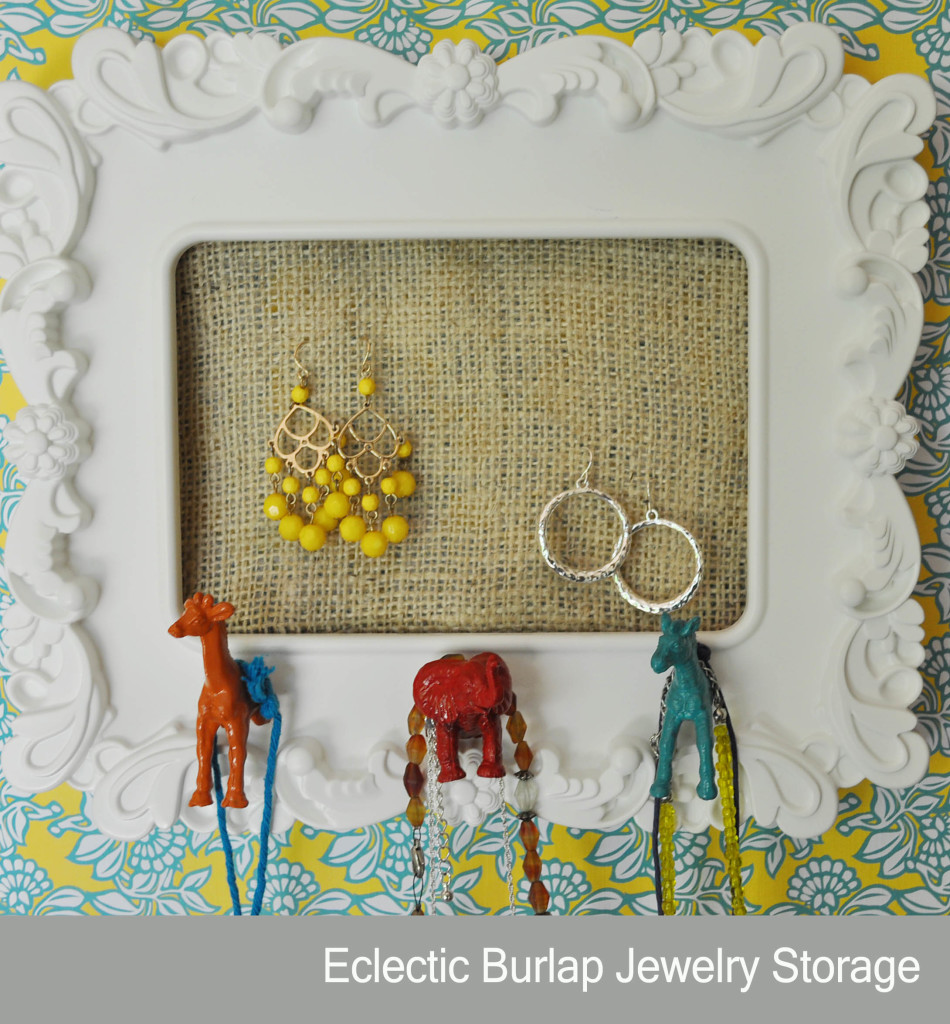 Eclectic Burlap Jewelry holder using a picture frame and plastic animals