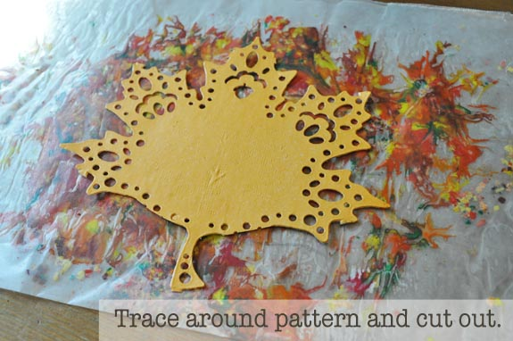 trace around pattern and cut out Wax Paper Sun Catchers for Kids
