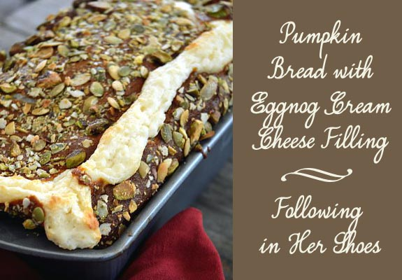 Pumpkin Bread With Eggnog Cream Cheese by Following In her Shoes Food and Fall in the South