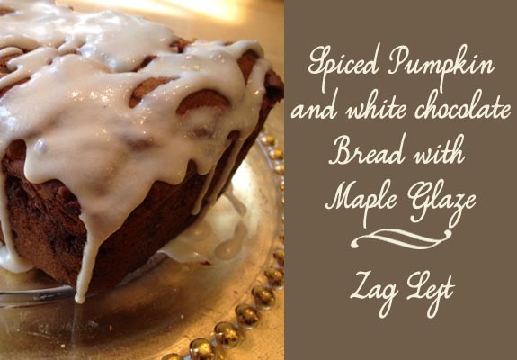 Spiced Pumpkin and White Chocolate Bread by Zag Left Food and Fall in the South