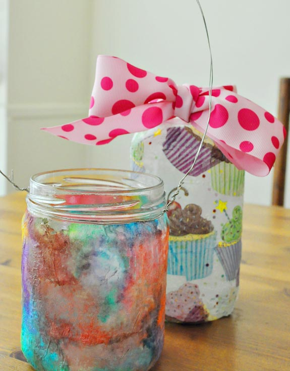 Tissue Covered Mason Jars easy for kids to make