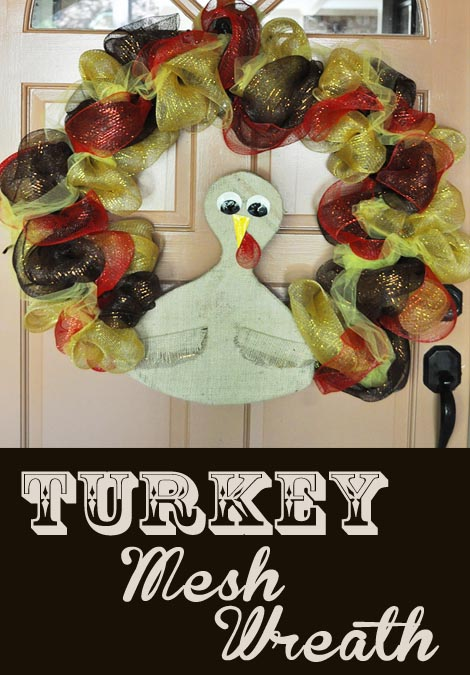Turkey Mesh Wreath from Clumsy Crafter Turkey Mesh Wreath