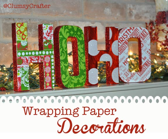 Wrapping paper letter decorations clumsy crafter