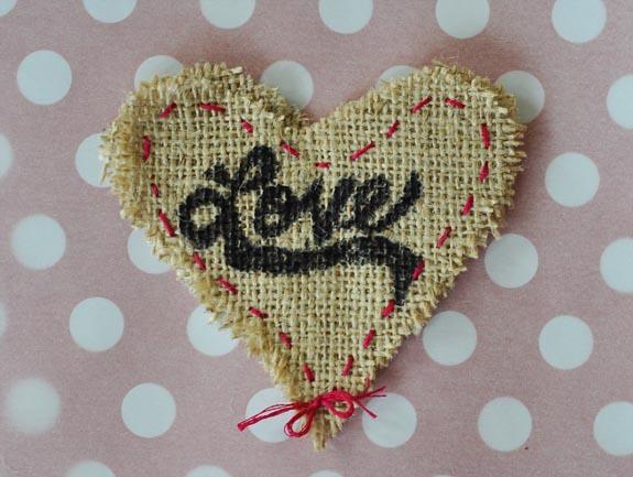 burlap love valentine