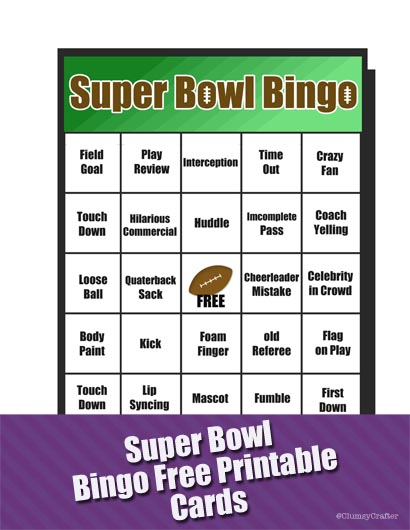 graphic about Printable Super Bowl Bingo Cards called Tremendous Bowl Bingo Sport - Clumsy Crafter