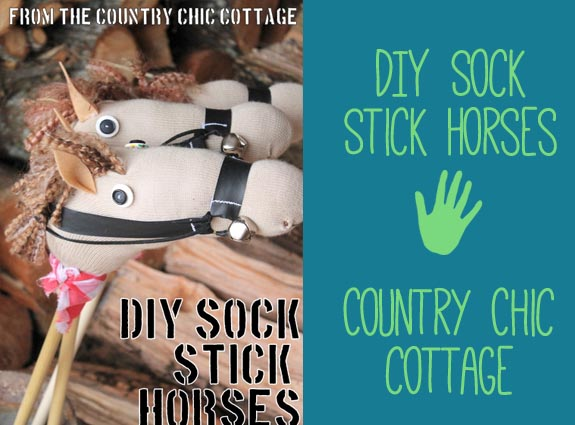 DIY Sock Stick Horses from the Country Chic Cottage