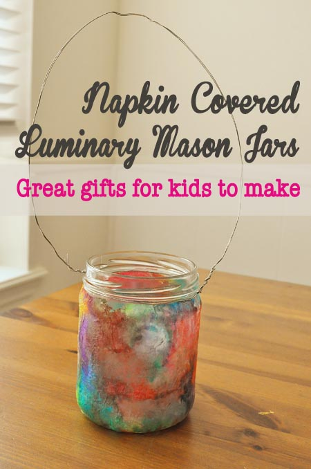 Napkin covered mason jar- great luminaries or vases.