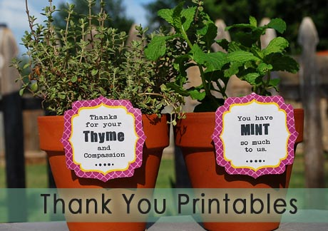 Thank you for your thyme / you have mint so much printables