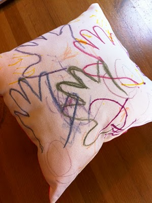 Make a pillow using fabric crayons! Great gift!