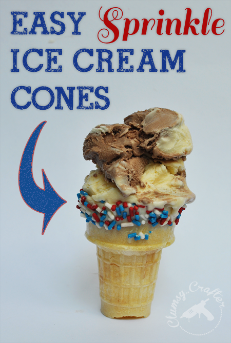 Easy sprinkle Ice Cream Cones, great for a 4th of July party