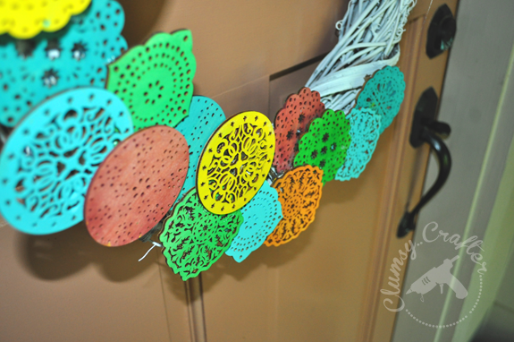 Festive Summer Wreath made with Wooden Doilies