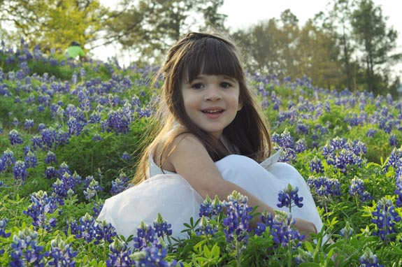 Ellie girl in Bluebonnets Clumsy Crafter Healthy Birthday Denial