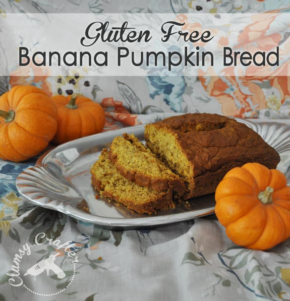 Gluten Free Banana Pumpkin Bread by Clumsy Crafter