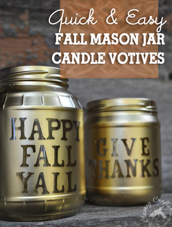 Quick and Easy Fall Mason Jar Votives using glass jars, foam stickers and spray paint
