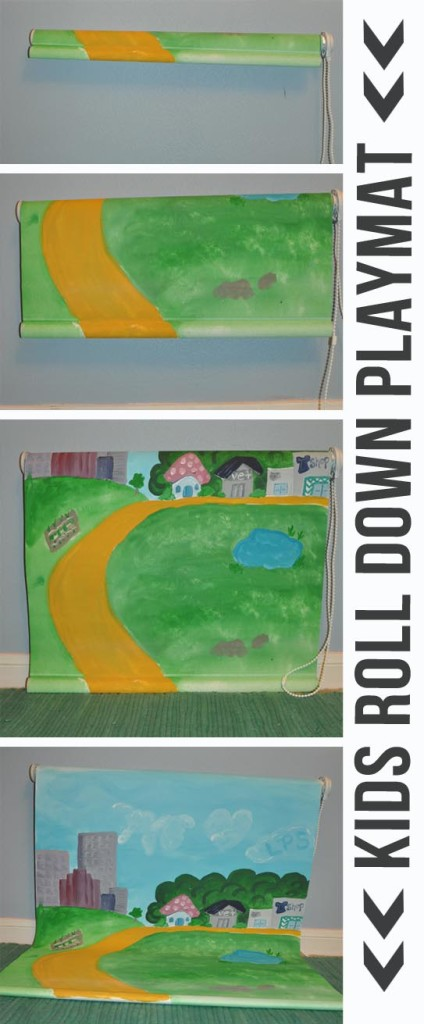 Kids roll down playmat mounted on the wall and made from a white roller blind from Clumsy Crafter
