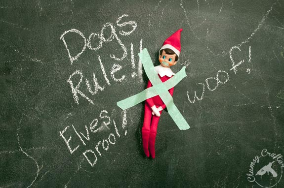 Elf on the Shelf Ideas - Dogs capture the Elf