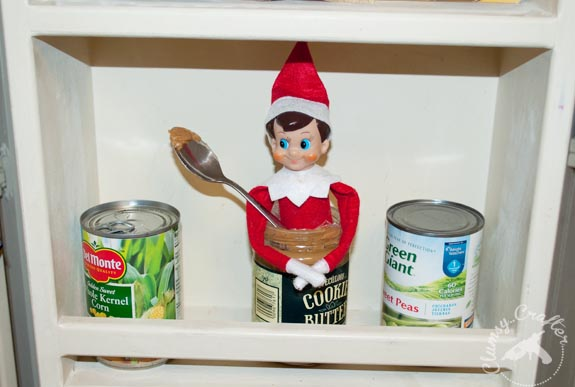 Elf on the Shelf ideas - Elf in the Cookie Butter
