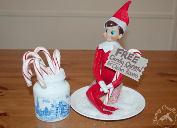 Elf on the shelf idea - free candy canes for clean rooms