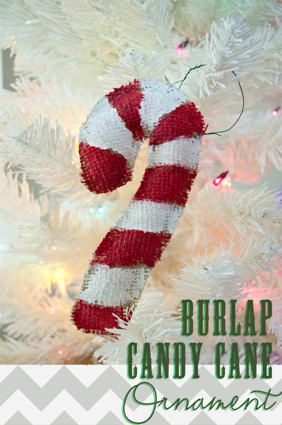 Burlap Christmas Craft - Burlap Candy Cane ornaments