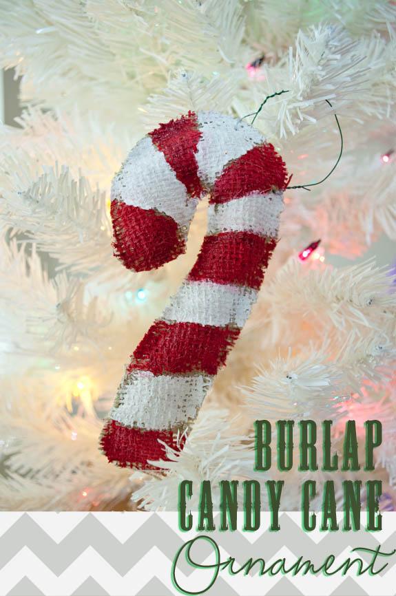 Burlap Christmas Craft - Burlap Candy Cane ornaments