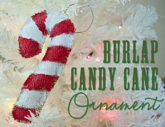 Candy Cane ornament using burlap