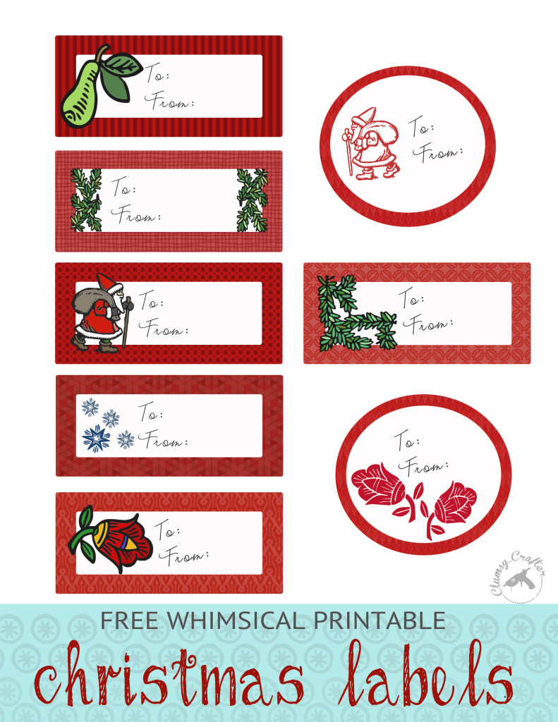 Free Whimsical Christmas Labels from Clumsy Crafter