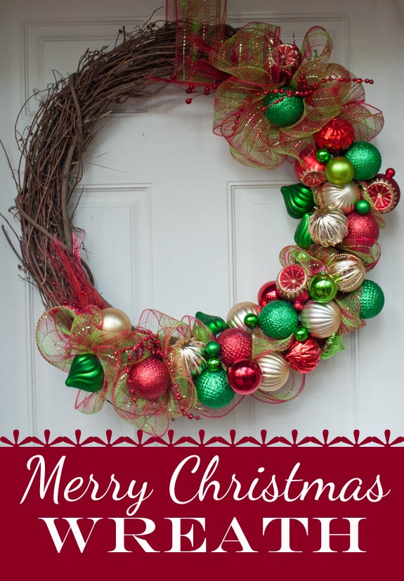Merry christmas wreath clumsy crafter for How to decorate a christmas wreath