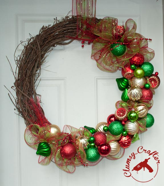 Ornament Christmas Wreath by Clumsy Crafter