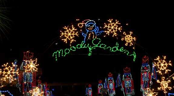 Moody Gardens Festival of Lights in Galveston, TX. One of the best places in the Houston area to see christmas lights!