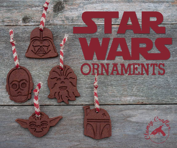 Homemade Star Wars ornaments made from cinnamon dough