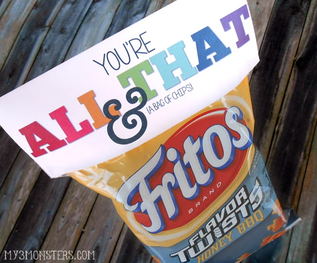image about You're All That and a Bag of Chips Free Printable identify Bag of Chips Valentines - Clumsy Crafter