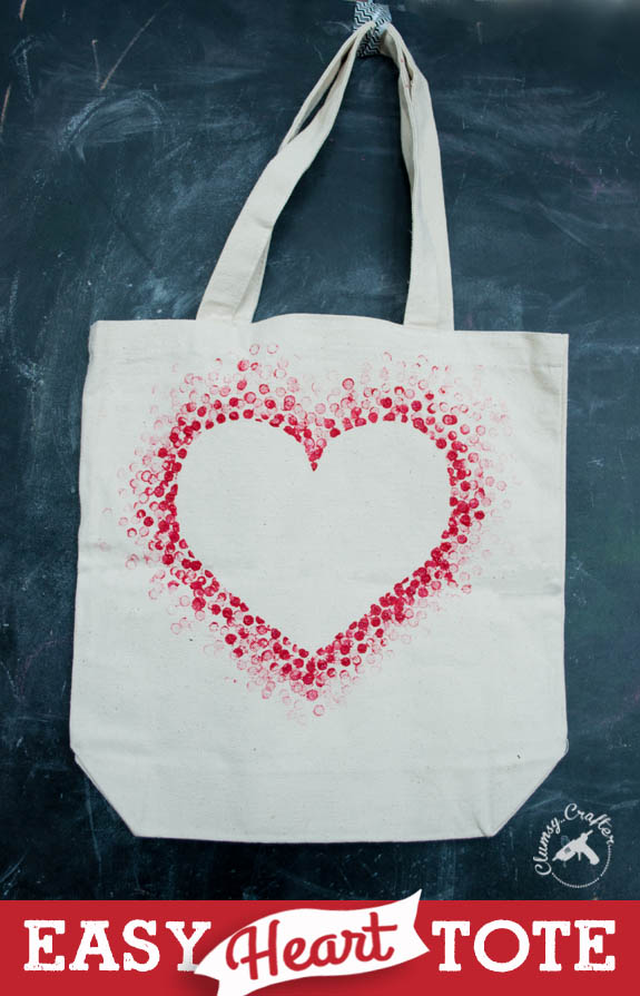 Easy Heart tote craft from Clumsy Crafter