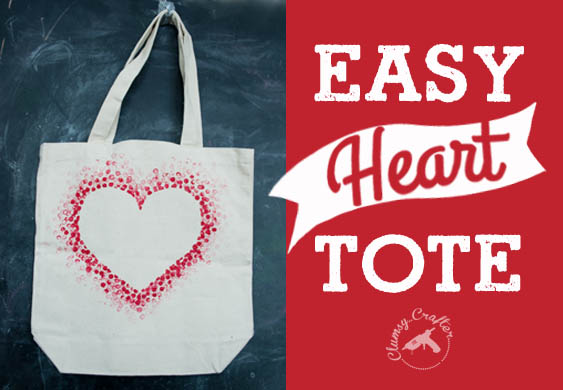Easy DIY tote bag for Valentine's day or to use year round by Clumsy Crafter