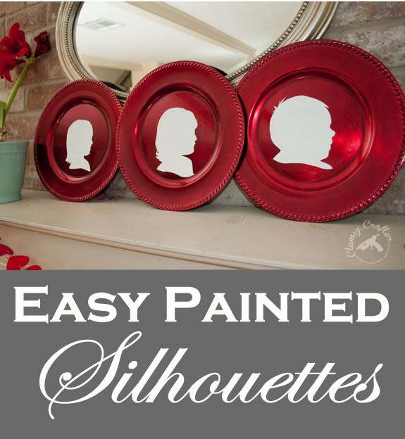 Easy Handpainted Silhouettes on plastic chargers