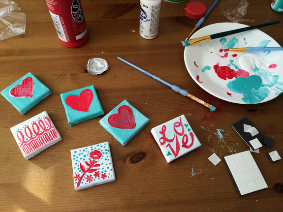 Valentine's Day Craft - Mini Canvas Magnets