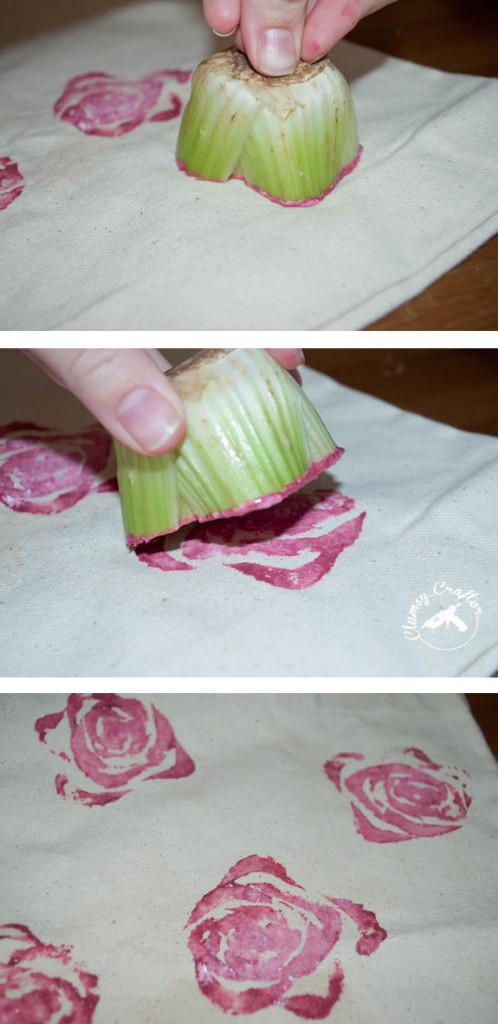 Making rose prints using celery prints