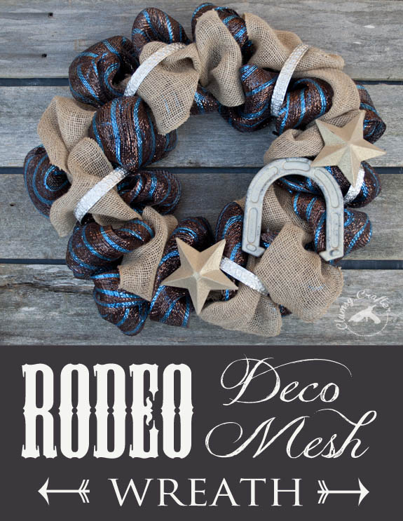 Rodeo Deco Mesh Wreath by Clumsy Crafter
