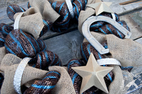 Rodeo Themed Deco Mesh Wreath with Burlap