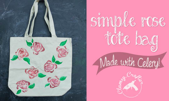 Rose Tote Bag made using Celery from ClumsyCrafter