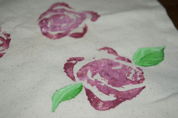 Roses made using celery prints