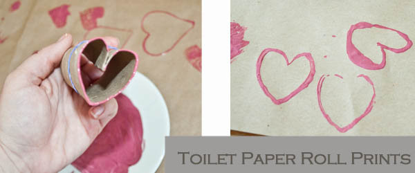 Heart shapes using toilet paper rolls