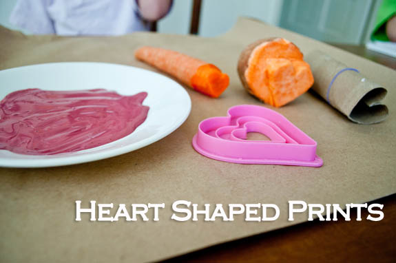 Different ways to make heart shaped prints with kids